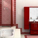 красные элементы в дизайне ванной