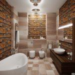 теплые оттенки в оформление ванной комнаты
