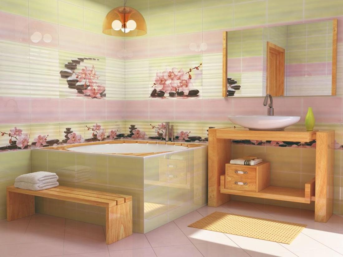 необычная керамическая плитка в ванной в стиле модерн в темных тонах