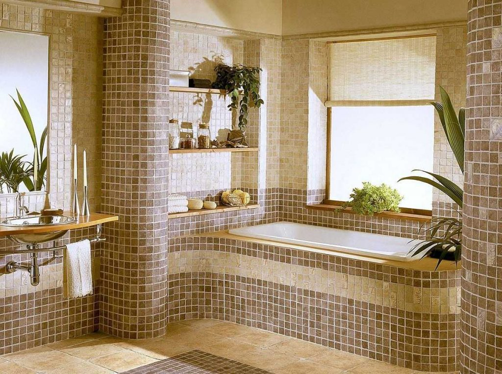 стандартная ванна в коричневом цвете