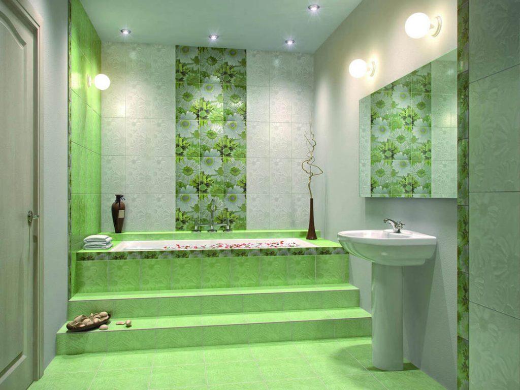 яркая керамическая плитка в интерьере ванной в стиле модерн в темных тонах