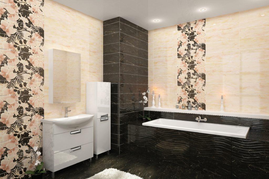 симпатичная керамическая плитка в ванной комнате в стиле прованс в светлых тонах