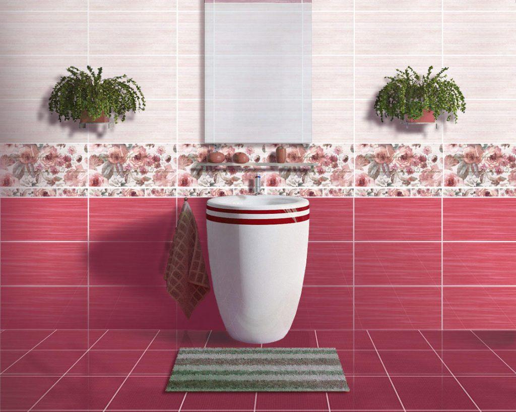 яркая керамическая плитка в интерьере ванной в стиле классика в светлых тонах