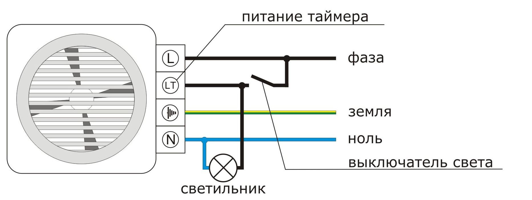 Схема вентилятор ванна