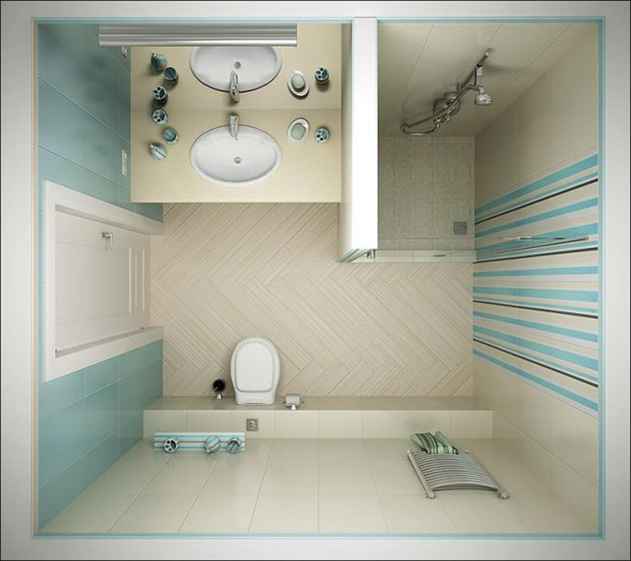 светлая душевая кабина в маленькой ванной комнате