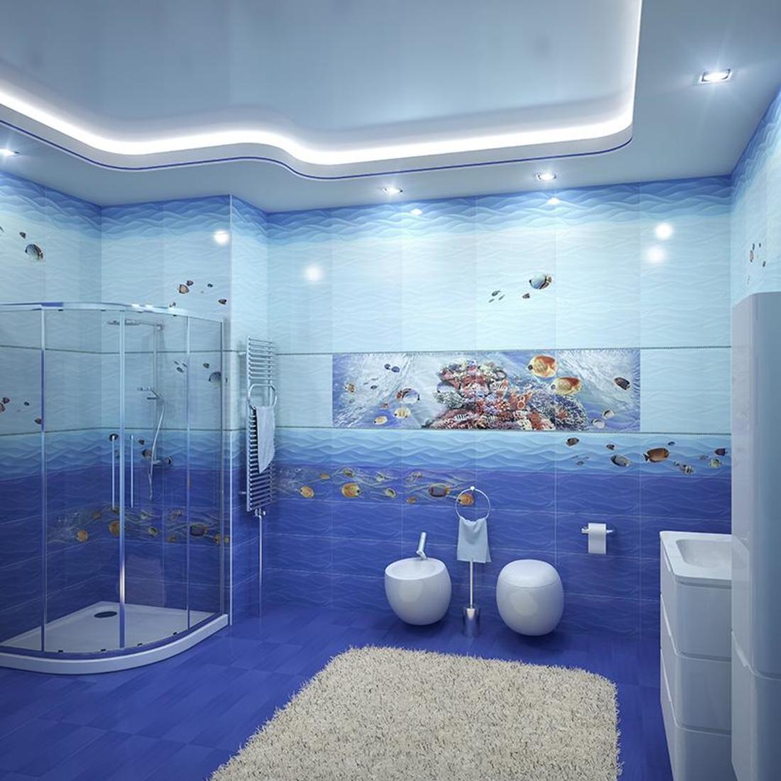 симпатичная керамическая плитка в ванной комнате в стиле модерн в светлых тонах