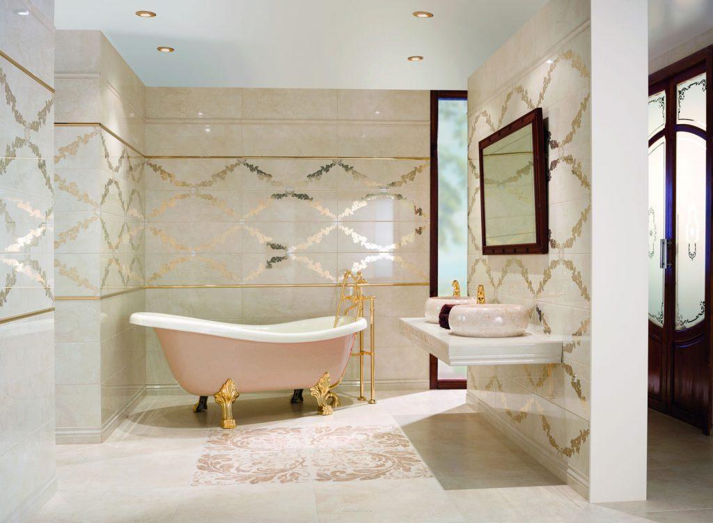 красивая керамическая плитка в интерьере ванной в стиле прованс в светлых тонах