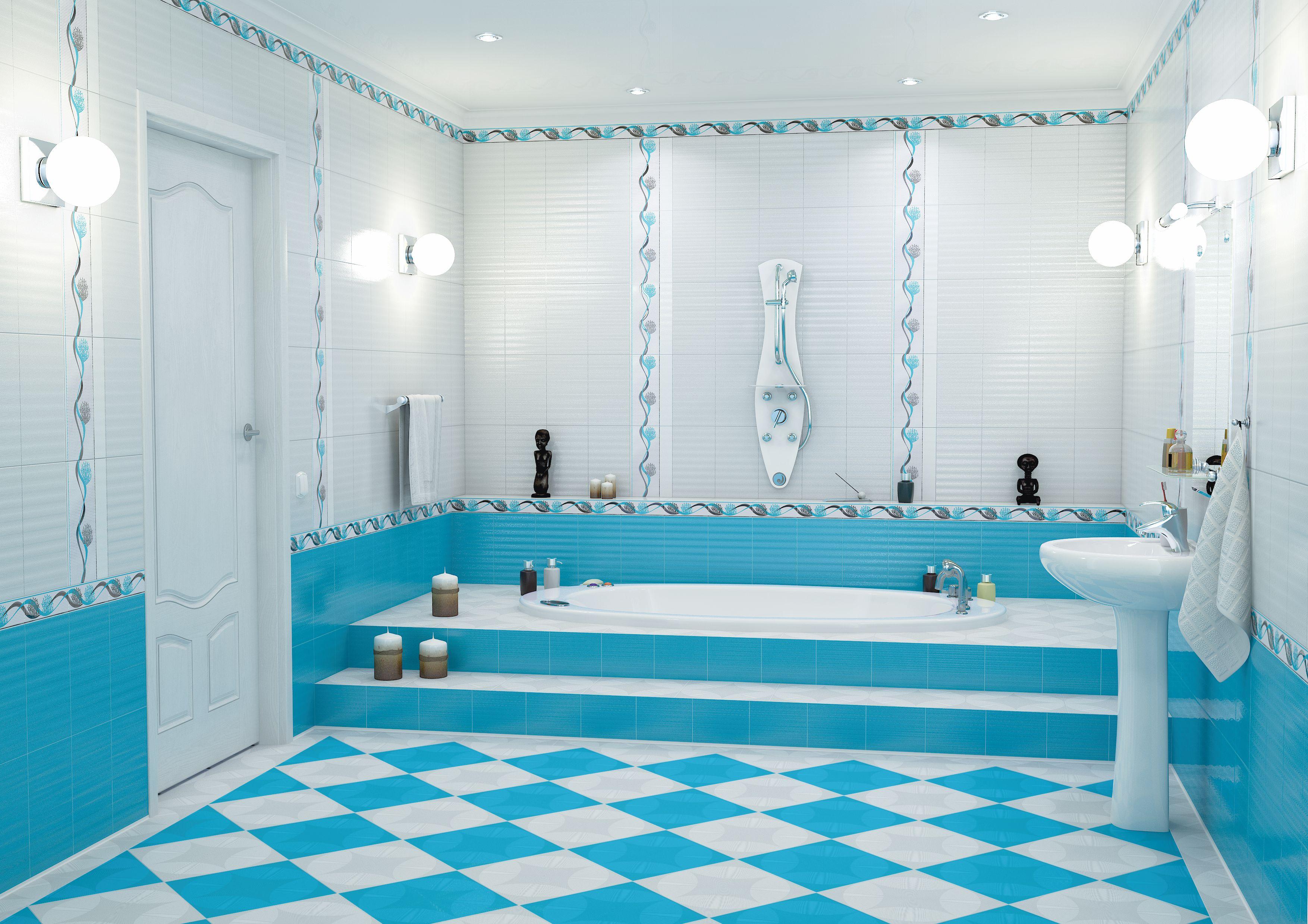 симпатичная керамическая плитка в интерьере ванной в стиле этно в светлых тонах