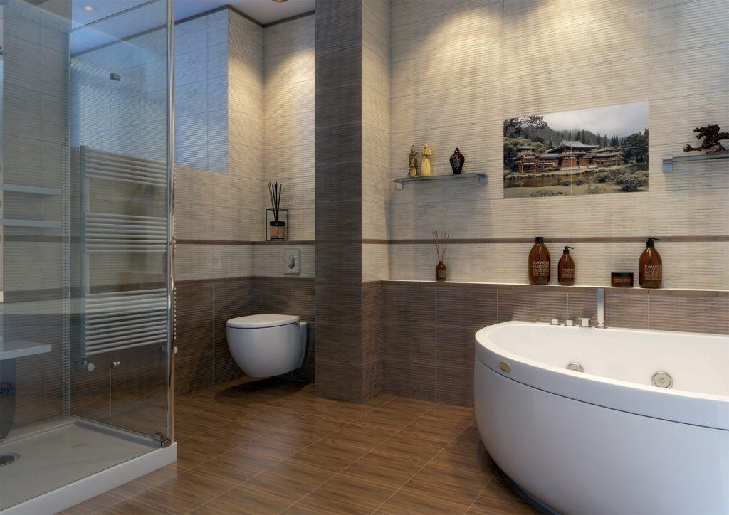 необычная керамическая плитка в ванной в стиле прованс в темных тонах