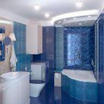 синий цвет способствует атмосфере расслабления в ванной