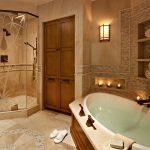 теплые коричневые тона добавляют уюта ванной комнате