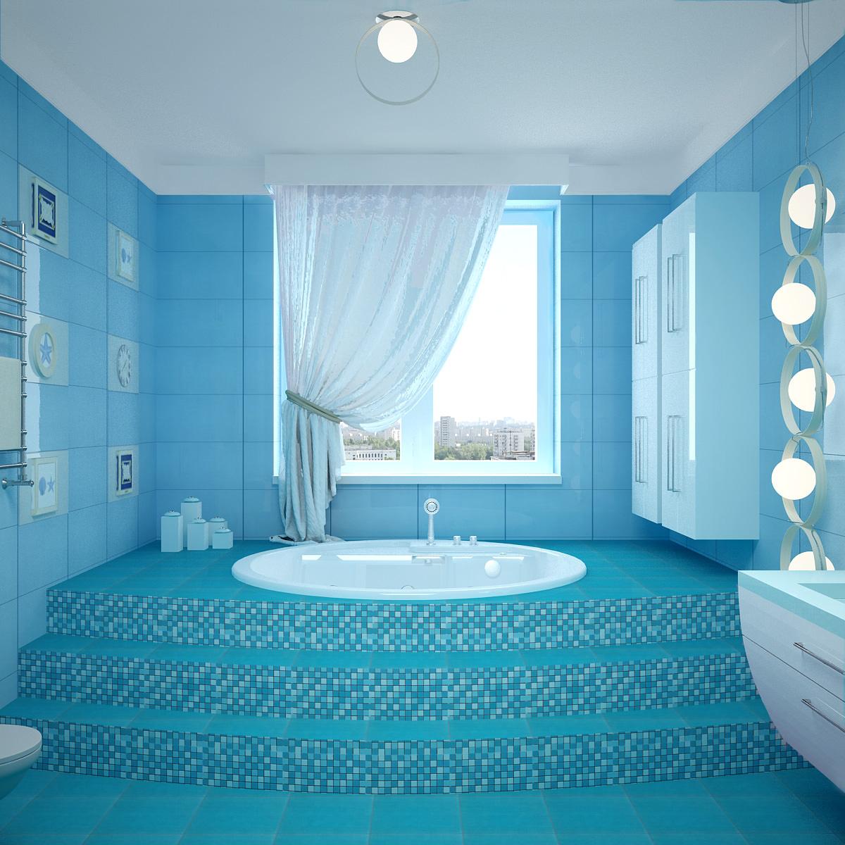 Дизайн ванной комнаты в сине голубых тонах