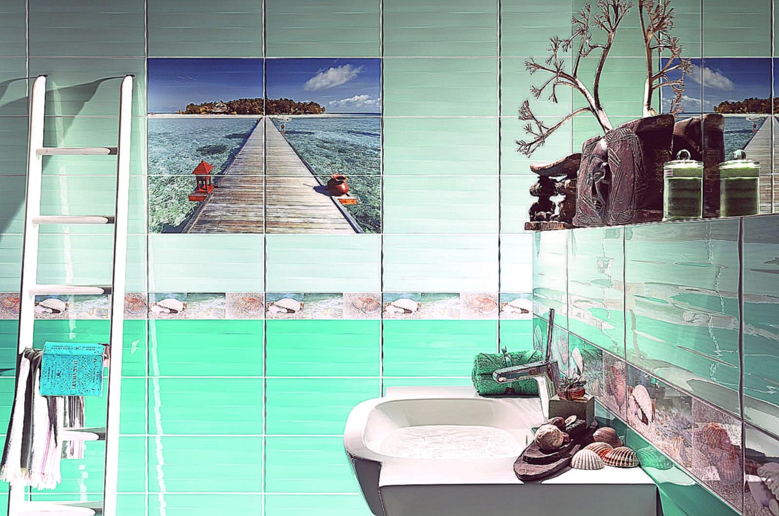 красивая керамическая плитка в ванной в стиле прованс в светлых тонах
