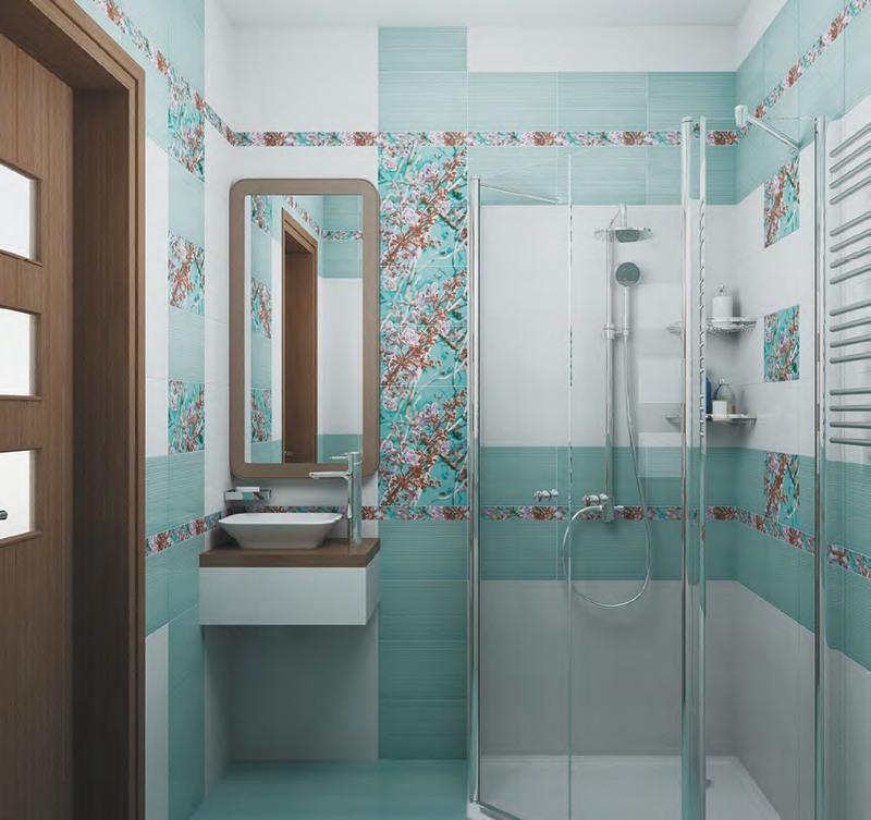 красивая керамическая плитка в ванной в стиле классика в светлых тонах
