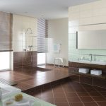 симпатичная керамическая плитка в интерьере ванной в стиле модерн в светлых тонах