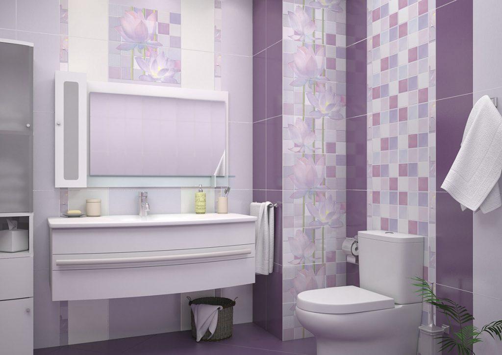 яркая керамическая плитка в ванной в стиле прованс в темных тонах