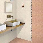 яркая керамическая плитка в ванной в стиле классика в светлых тонах