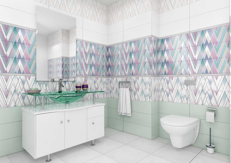 яркая керамическая плитка в интерьере ванной в стиле этно в темных тонах