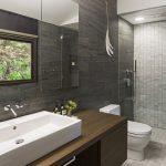 симпатичная керамическая плитка в ванной комнате в стиле классика в темных тонах