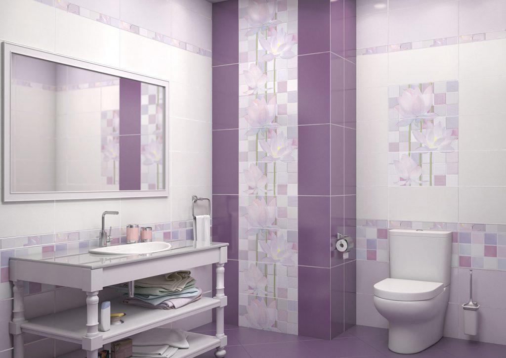 симпатичная керамическая плитка в ванной в стиле модерн в светлых тонах