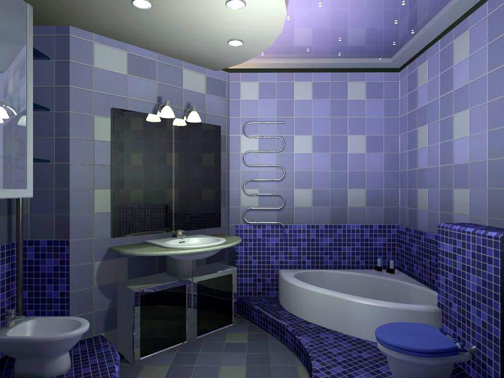 сине голубая ванна с потолочным светом