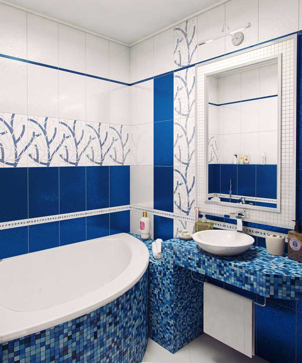 ванна в синем цвете с бежевым оттенком