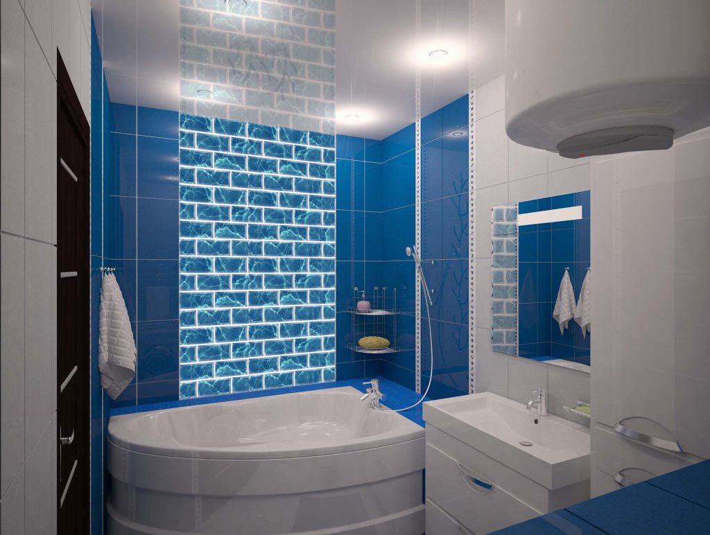 красивый дизайн ванных комнат, голубая ванная комната