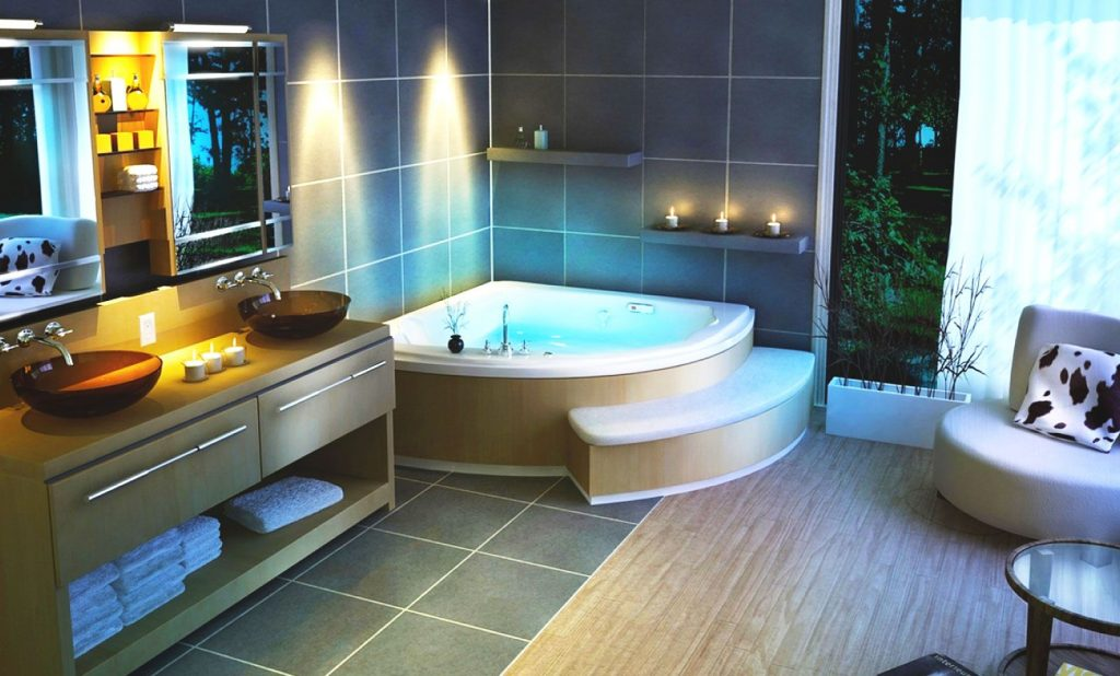 разноцветная ванна с рисунками природы