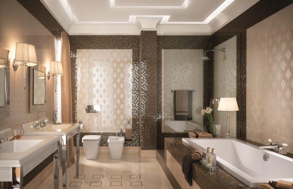 ванна с душем в коричневом цвете