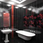 черная ванная с красным декором