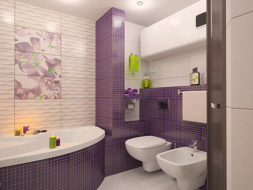 фиолетовая ванная комната с рисунками цветов