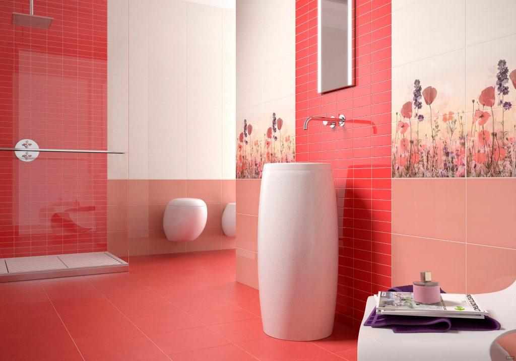 красная ванная комната, плитка для ванной