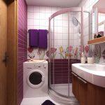 яркая душевая кабинка в ванной комнате дизайн