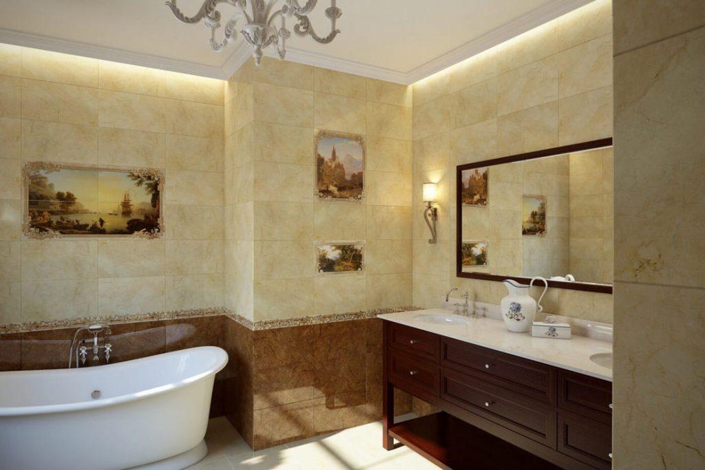 красивая керамическая плитка в ванной комнате в стиле прованс в темных тонах