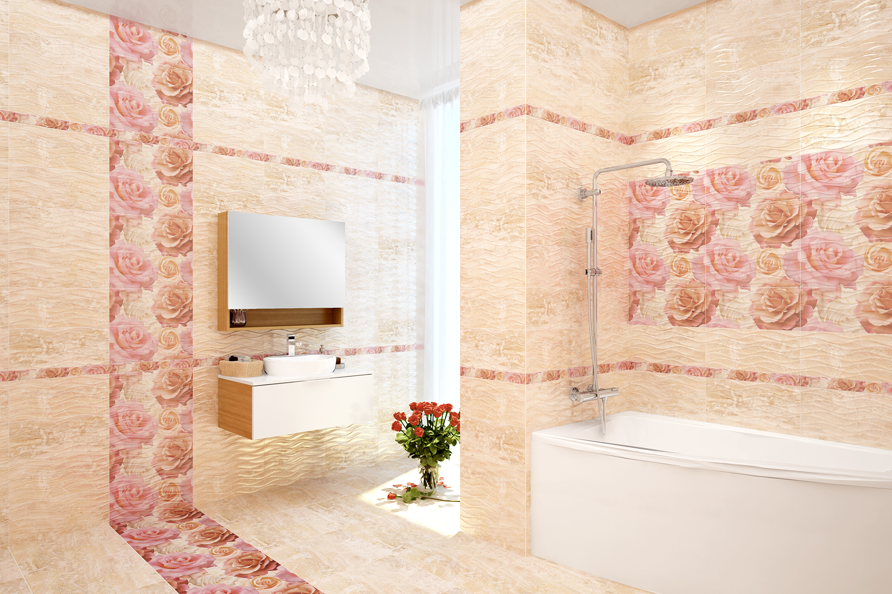 необычная керамическая плитка в интерьере ванной в стиле классика в светлых тонах