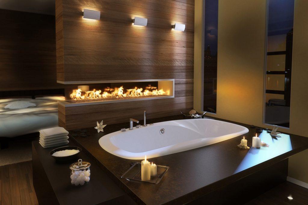 темно коричневая ванна с камином