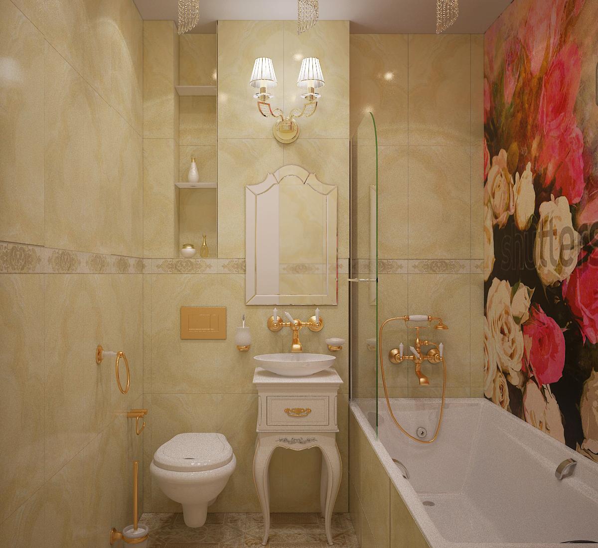 светлая ванна с изображением цветов
