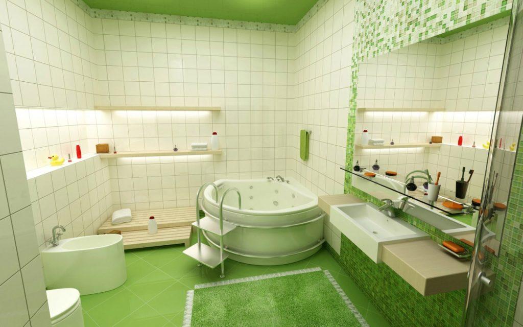 яркая зеленая ванная комната