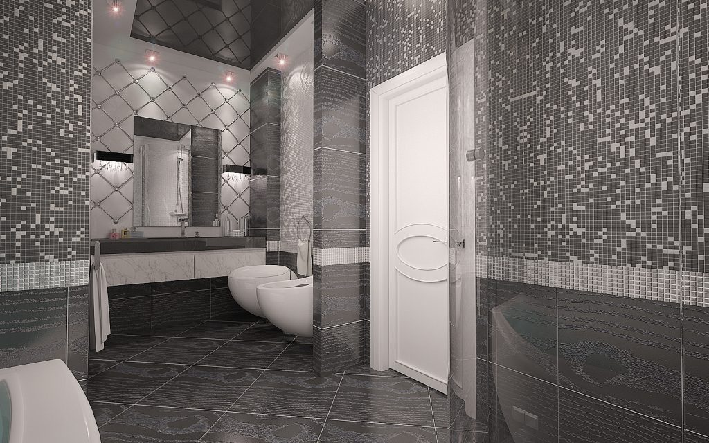 зеркальная плитка, современный дизайн ванной