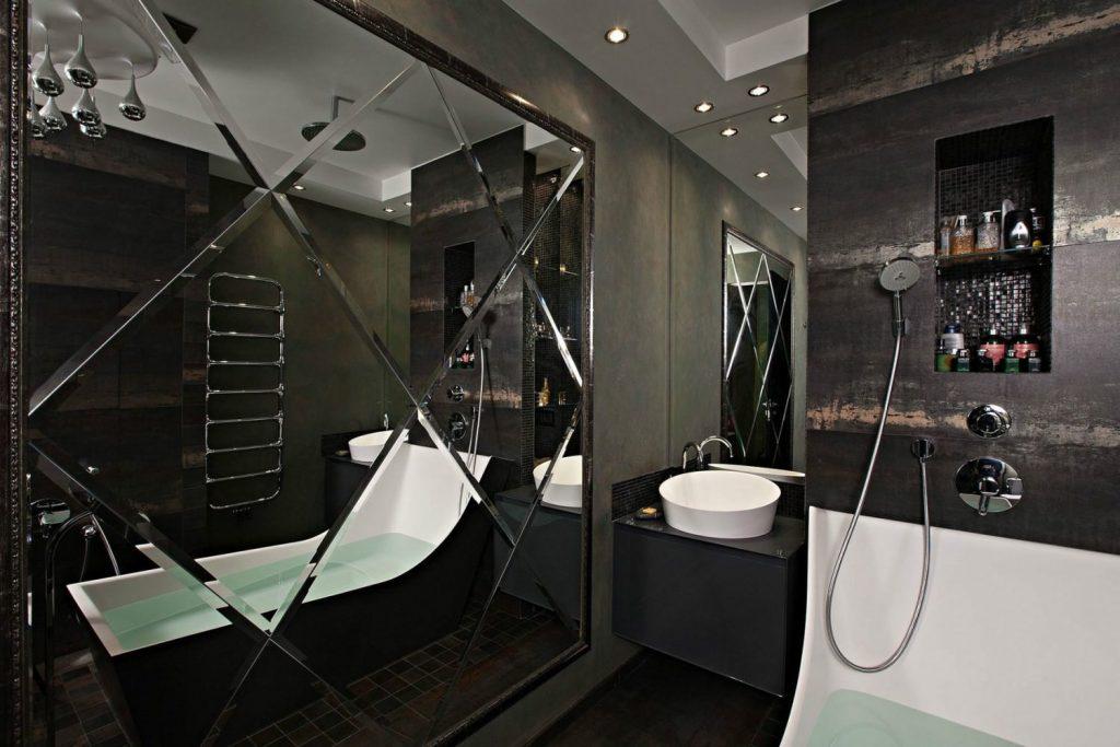 зеркальна плитка объемная, красивая зеркальная плитка для ванной