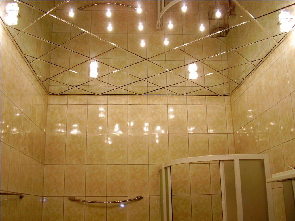 зеркальный потолок, зеркальная плитка в ванной, зеркальная ванная комната