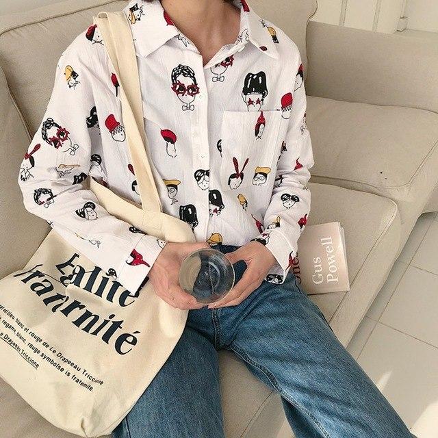 Высококачественная Розничная Торговля Модные женские туфли одежда с длинным рукавом рубашка свободные прекрасная печать блузка 2 igv0
