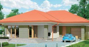 en poloczenie ceglanego dachu z zielona elewacja