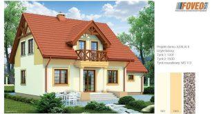 en poloczenie ceglanego dachu z zolta elewacja